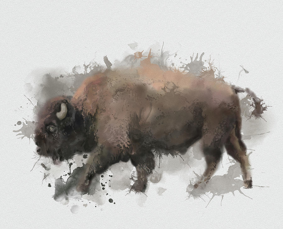 Walking Buffalo Digital Art