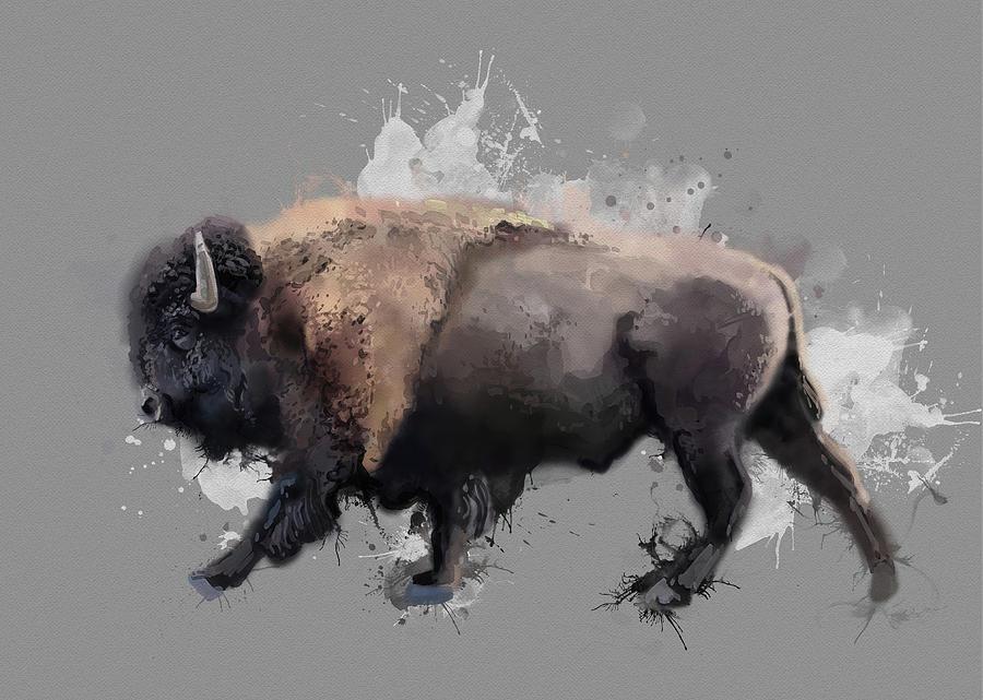 Walking Buffalo V3 Digital Art