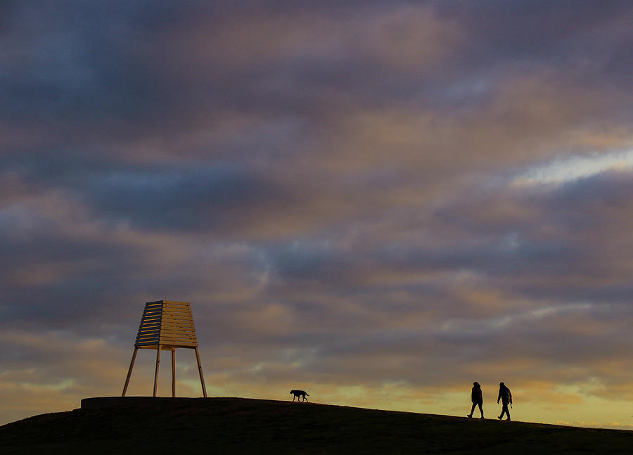 Walk Photograph - Walking the dog at dawn. by Leigh Henningham
