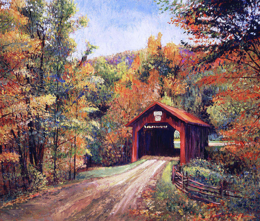 Walking Through The Covered Bridge Painting