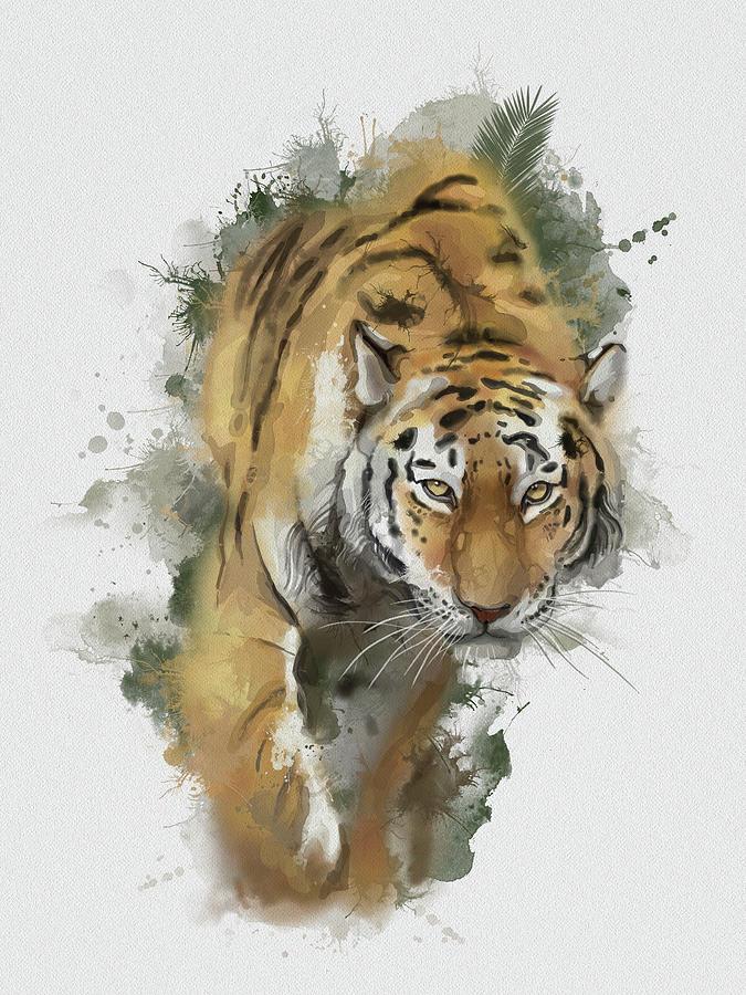 Walking Tiger Vintage Digital Art