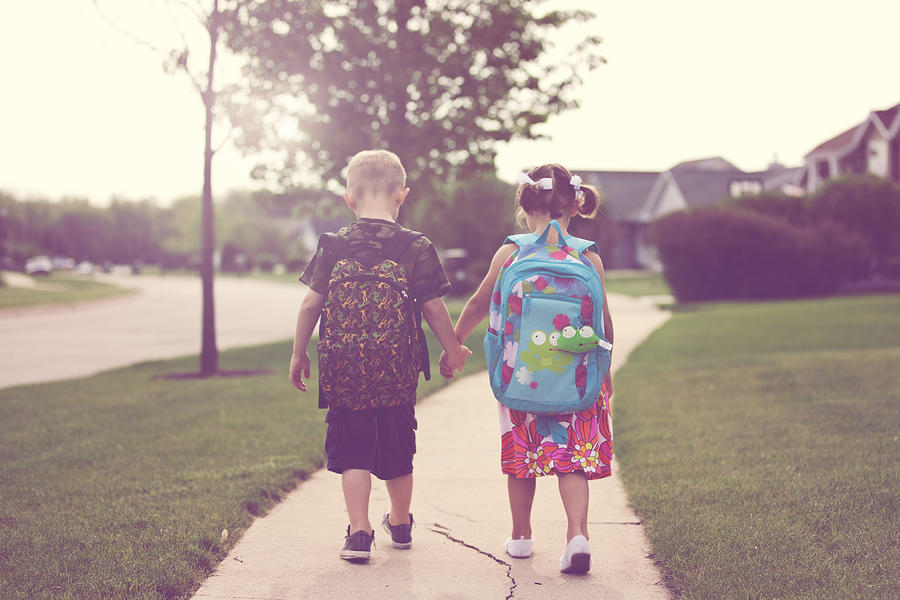 Walking to school Photograph by Rebecca Nelson