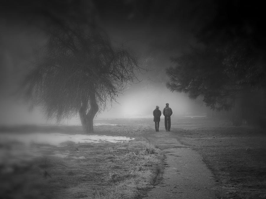 Walking together in the snow landscape by Alessandra RC