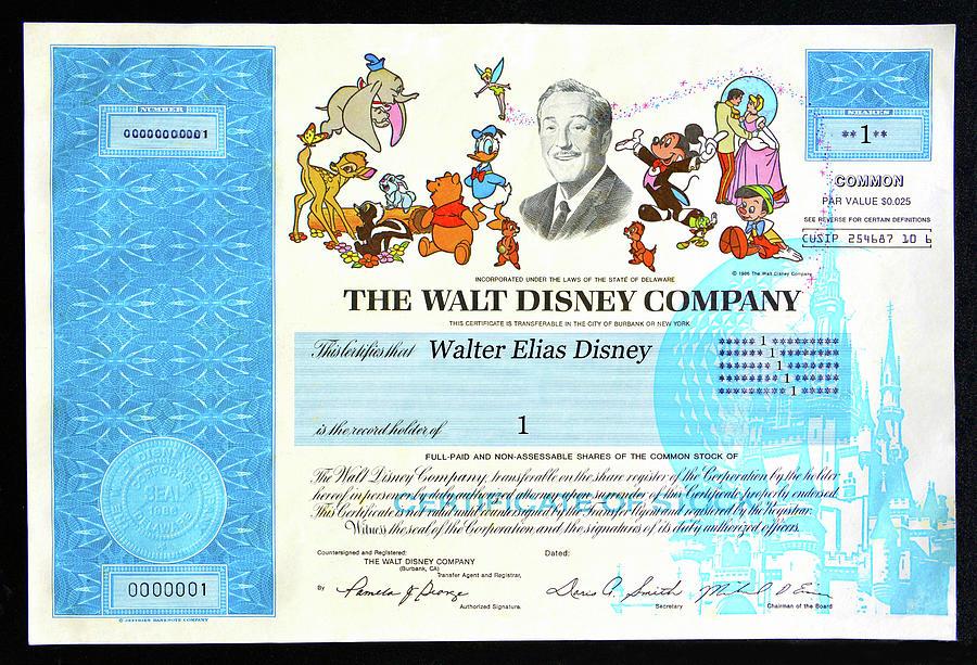 Walter Elias Disney Mixed Media - Walt Disney Company Stock number one by David Lee Thompson