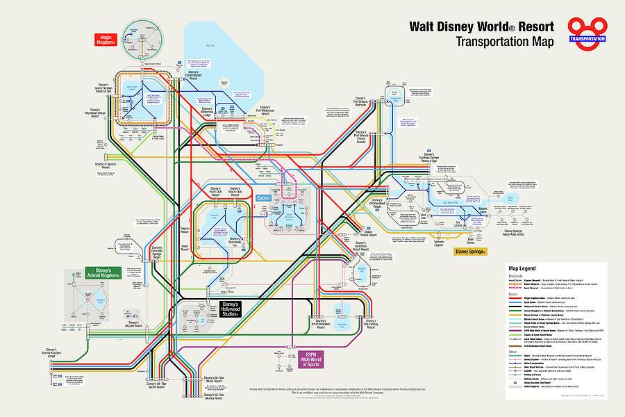 Walt Disney World Digital Art - Walt Disney World Resort Transportation Map by Arthur De Wolf