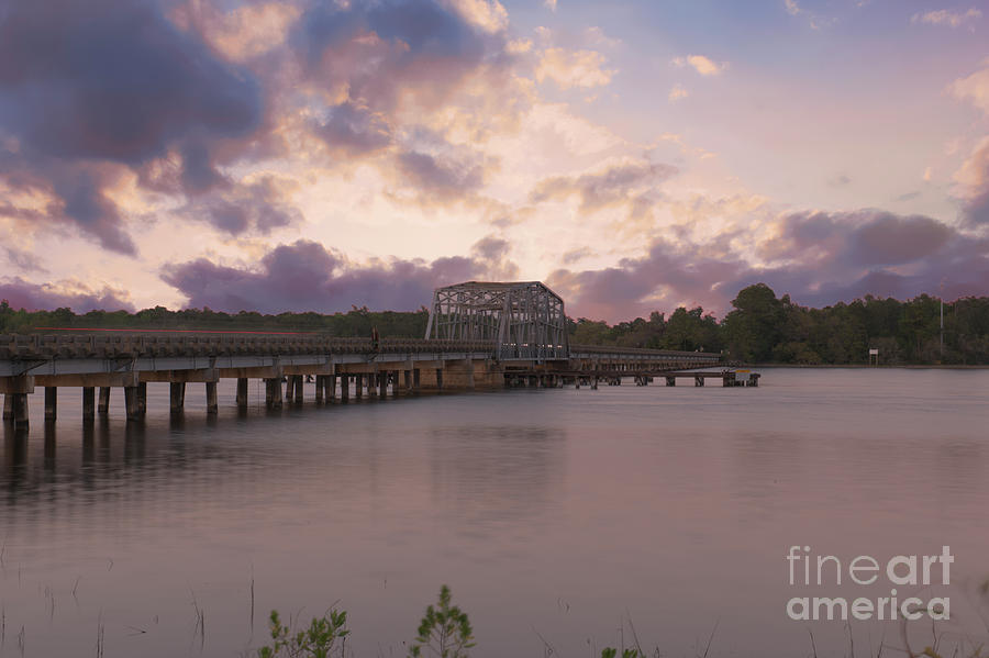 Wando River Swing Bridge At Sunset In Mount Pleasant South Carolina Photograph