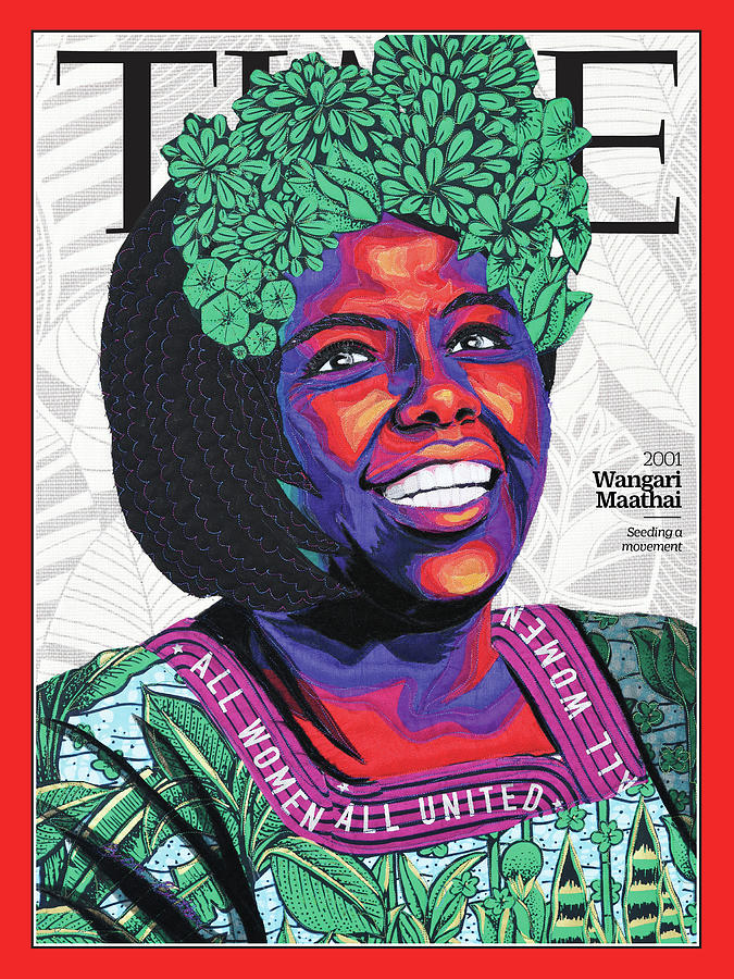Time Photograph - Wangari Maathai, 2001 by Art by Bisa Butler for TIME