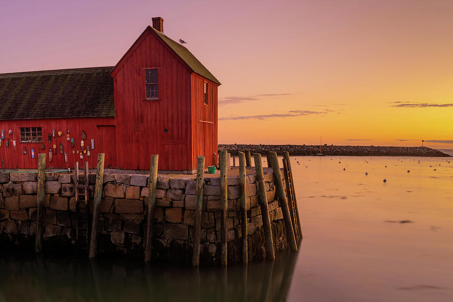 Warm Sunrise at Motif #1 in Rockport Harbor by Gregory Ballos