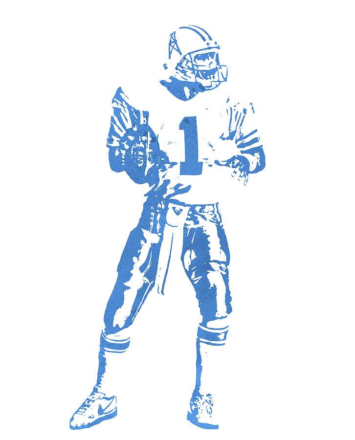 Warren Moon Houston Oilers Watercolor Strokes Pixel Art 2 Mixed Media By Joe Hamilton