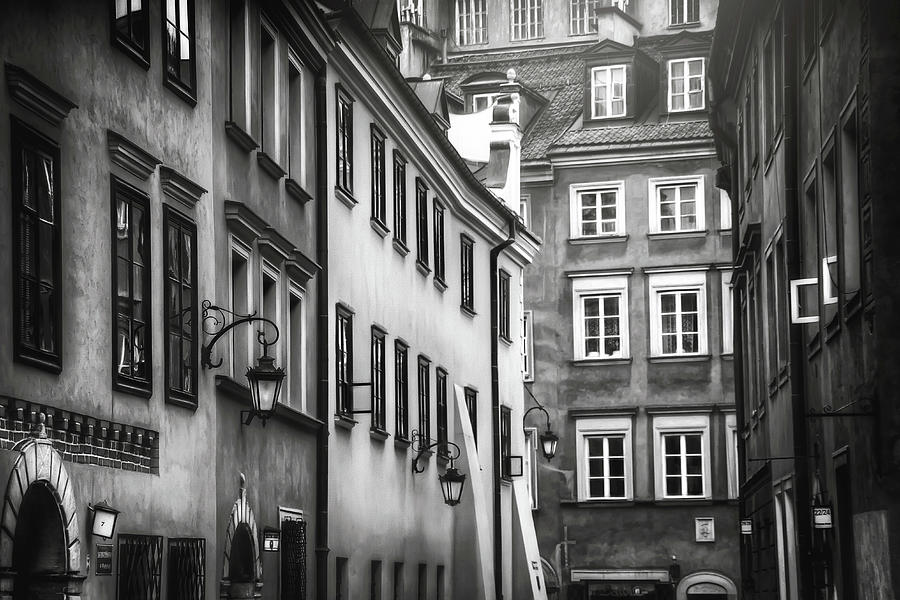 Warsaw Old Town Charm Black And White Photograph