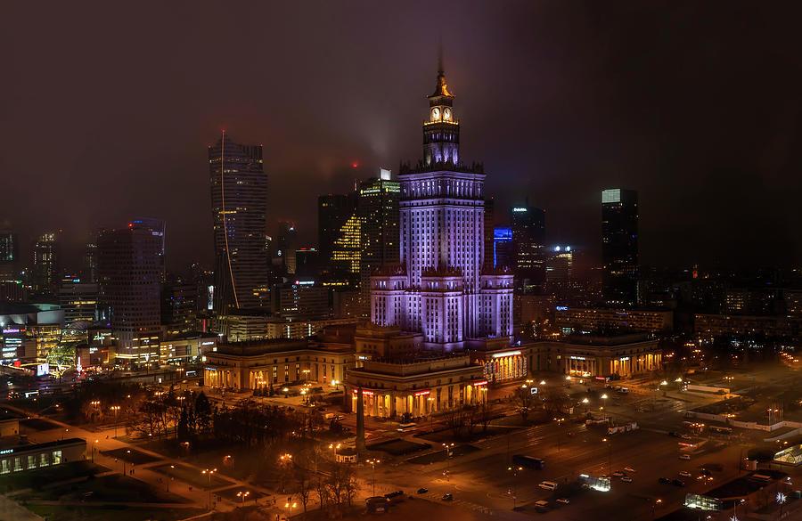 Warsaw on Christmas by Jaroslaw Blaminsky