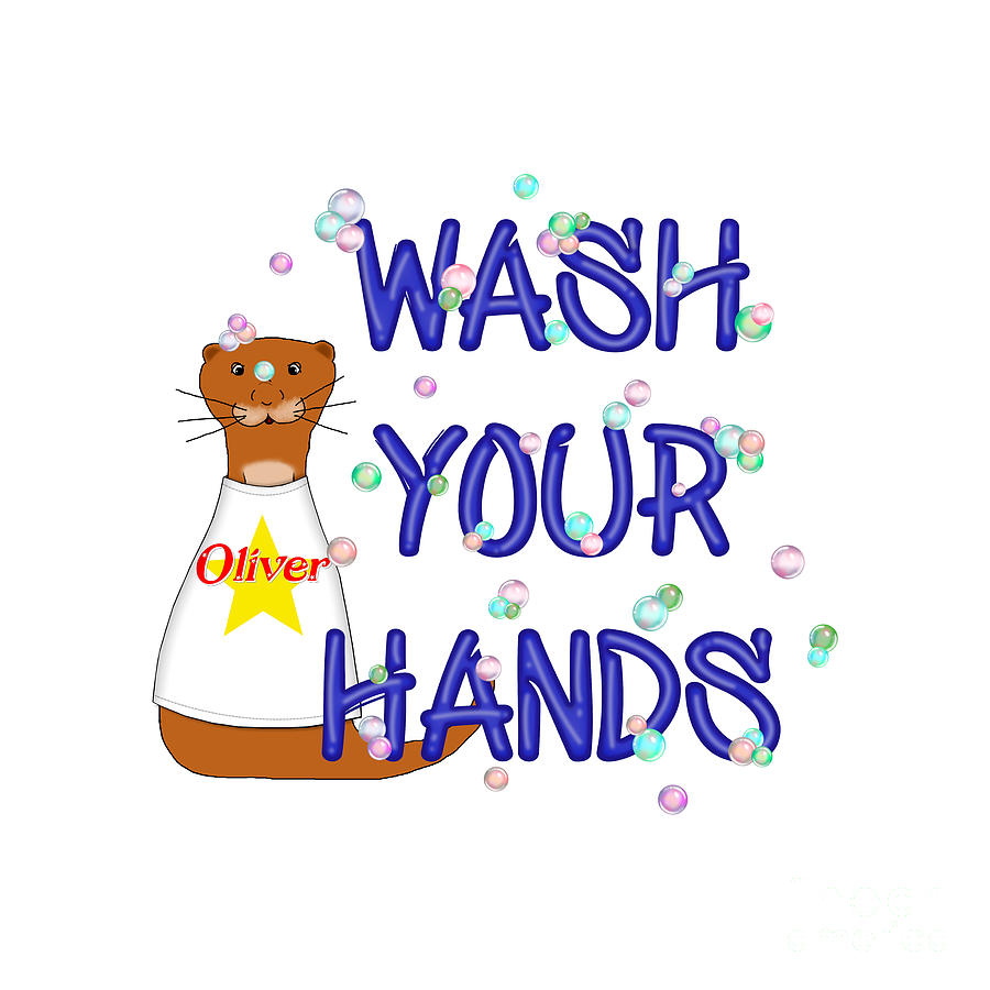 Wash Your Hands Digital Art - Wash Your Hands Oliver The Otter by Colleen Cornelius
