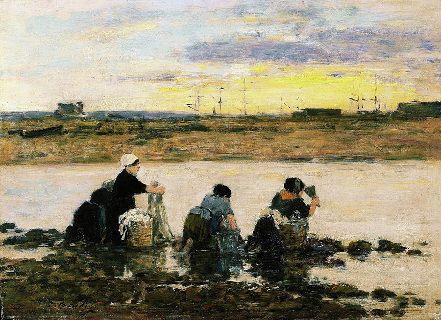 Eugene Louis Boudin Painting - Washerwomen By The River - Digital Remastered Edition by Eugene Louis Boudin