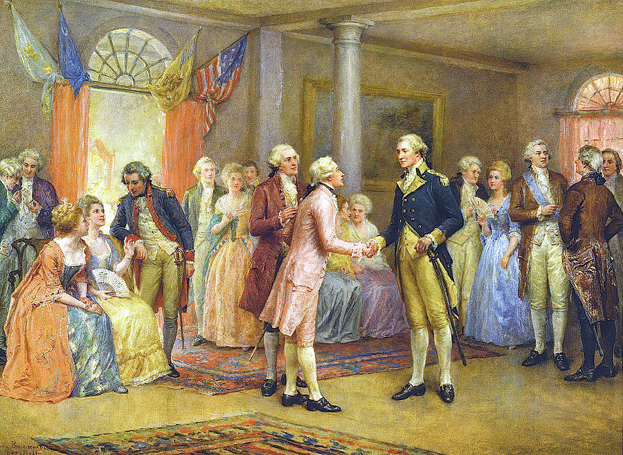 Washington Greeting Lafayette At Mount Vernon Painting