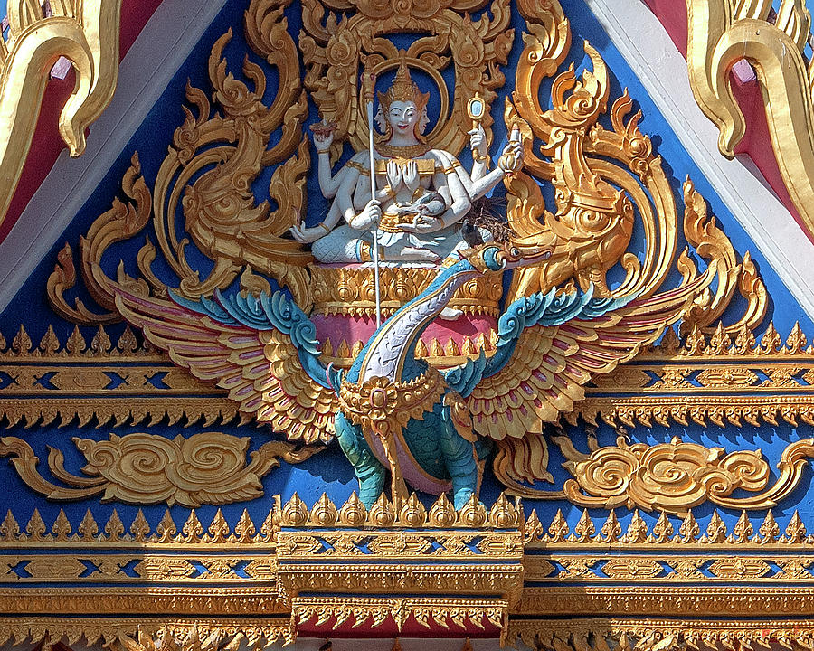 Wat Chai Mongkol Phra Ubosot Gable DTHU1196 by Gerry Gantt