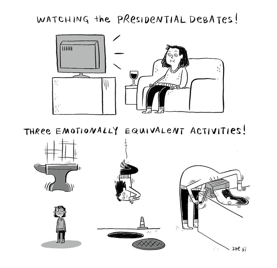 Watching The Presidential Debates Drawing by Zoe Si