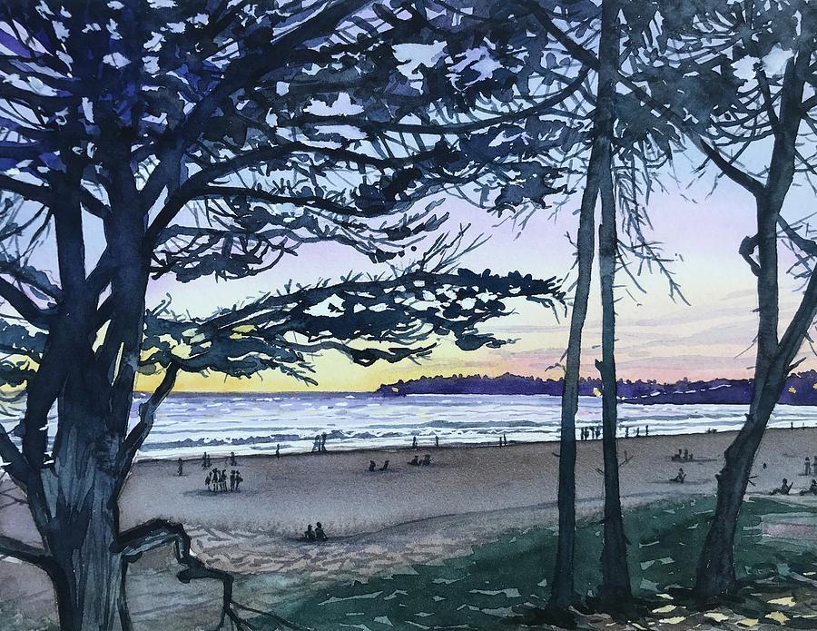Watching The Sunset - Carmel Beach Painting