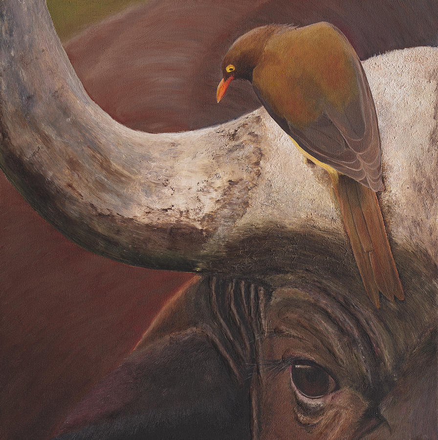 Cape Buffalo Painting - Water buffalo and oxpikker by Russell Hinckley