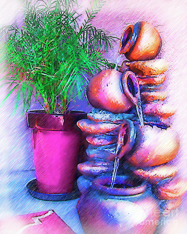 Fountain Digital Art - Water From The Pots by Kirt Tisdale