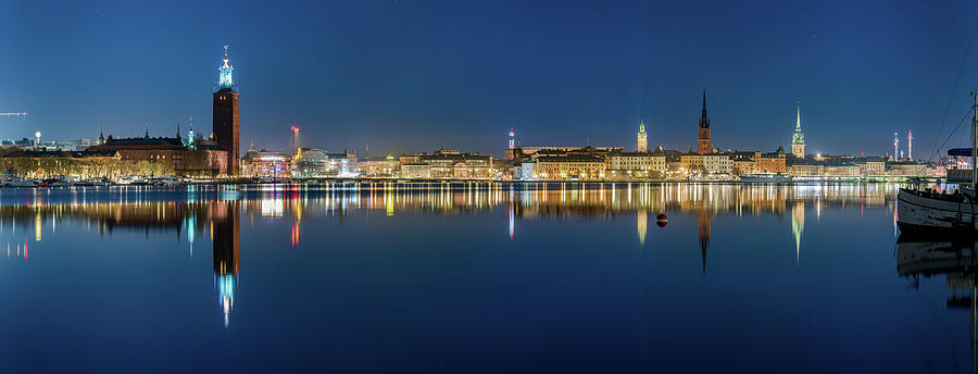 Stockholm Photograph - Water-level Stockholm and Gamla Stan reflection from a distant island by Dejan Kostic