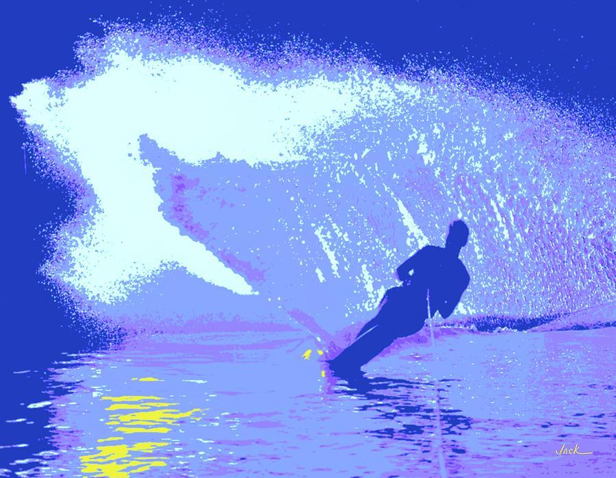 Water Ski Painting - Water Skiing by Jack Bunds