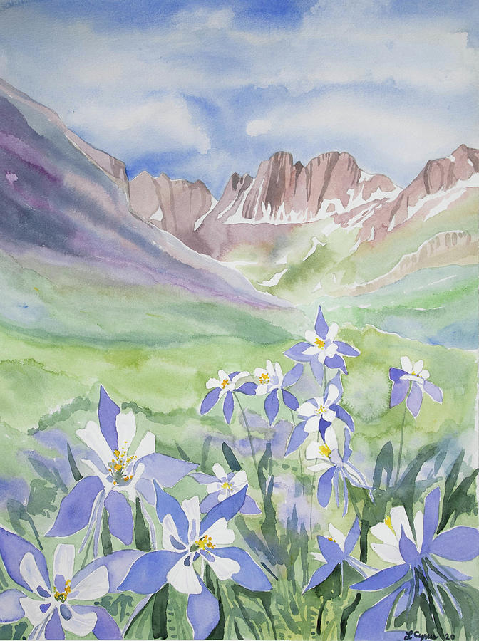 Watercolor - American Basin Summer Landscape Painting