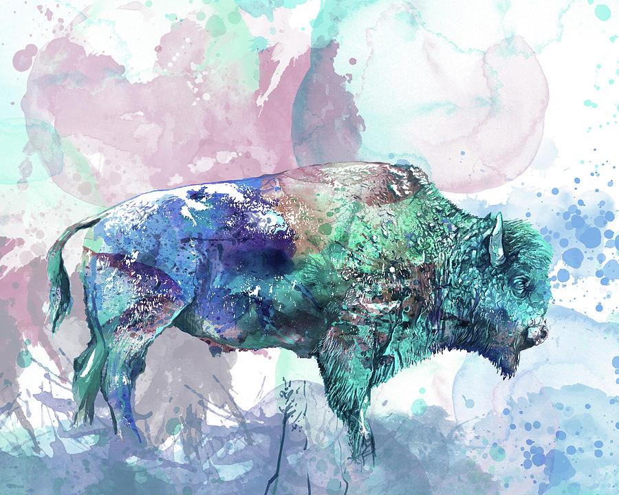 Watercolor Art Buffalo Digital Art