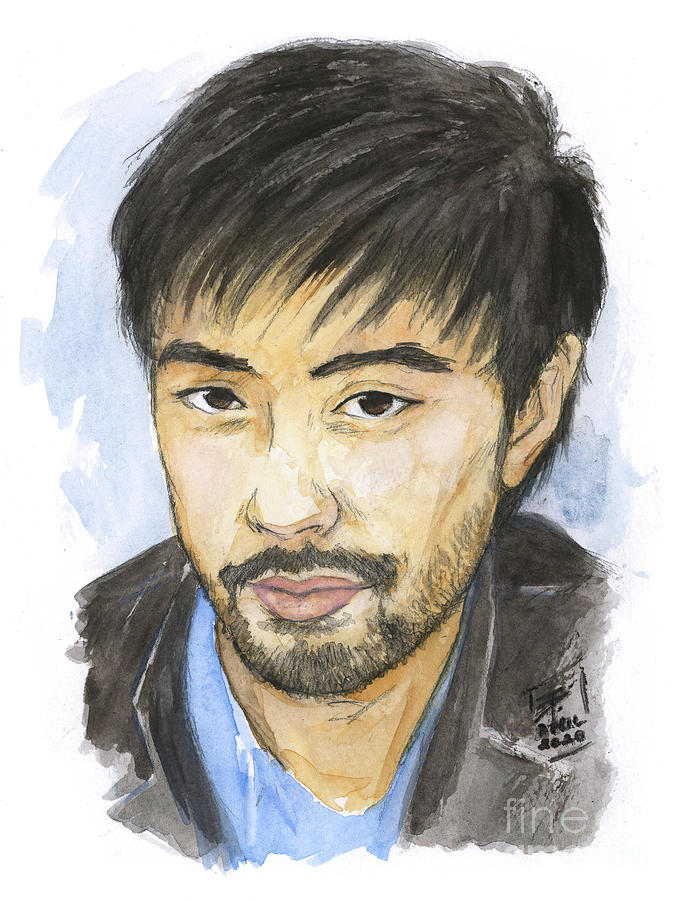 Watercolor Painting - Watercolor Asian Male Portrait by Brandy Woods