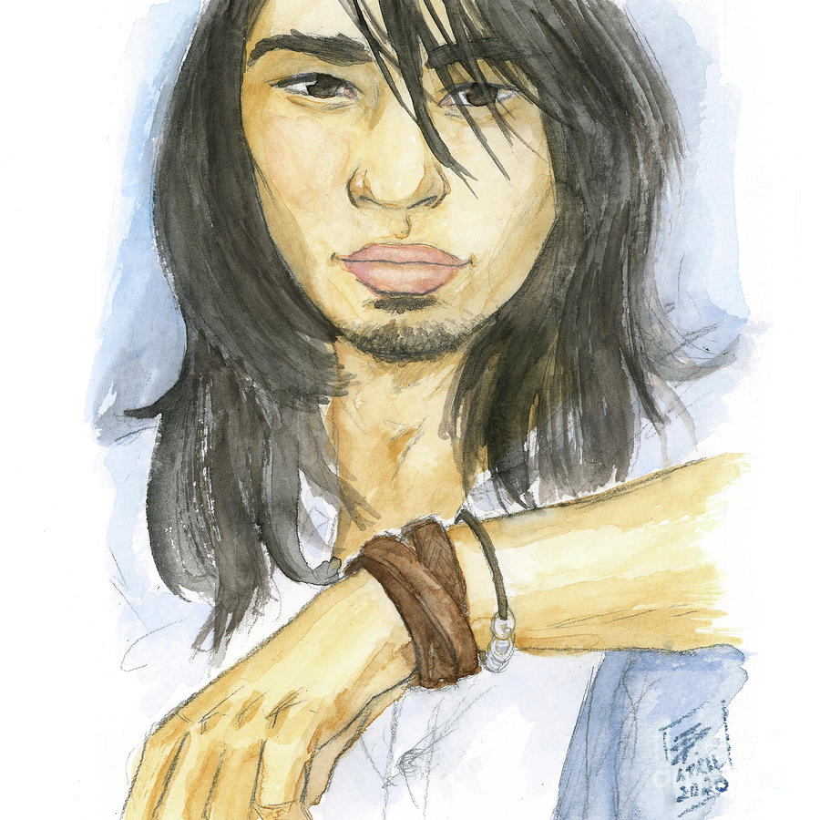 Male Painting - Watercolor Asian Youth Portrait by Brandy Woods