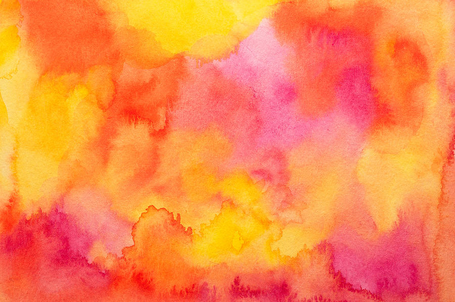 Watercolor background in yellow, red, orange and pink tones Photograph by Flavio Coelho