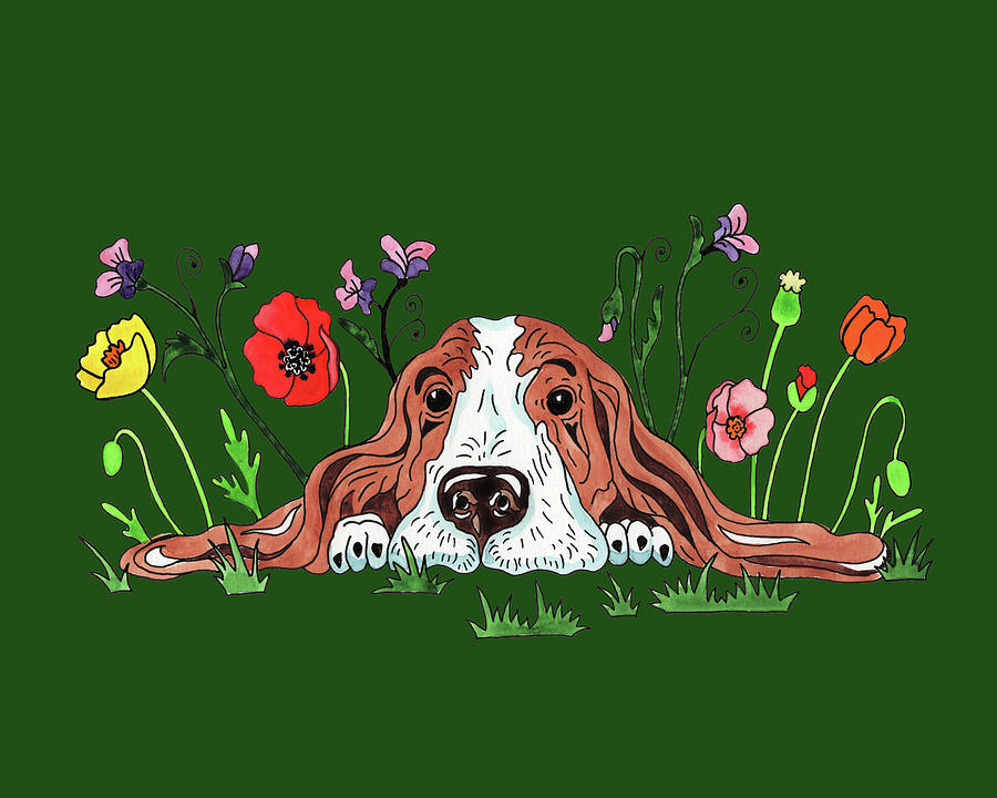 Watercolor Basset Puppy Dog In The Garden Painting