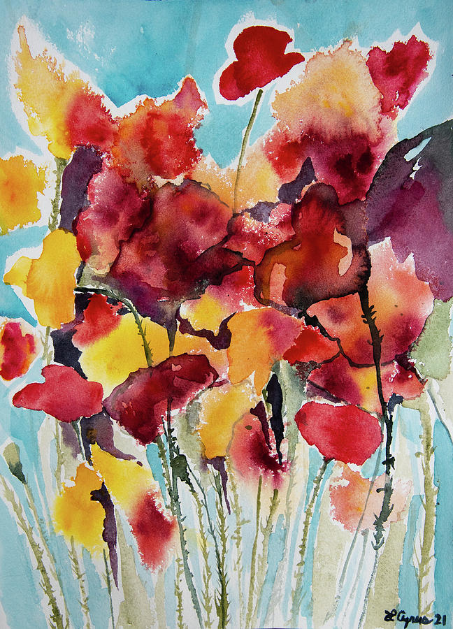 Watercolor - Colorful Floral Design Painting