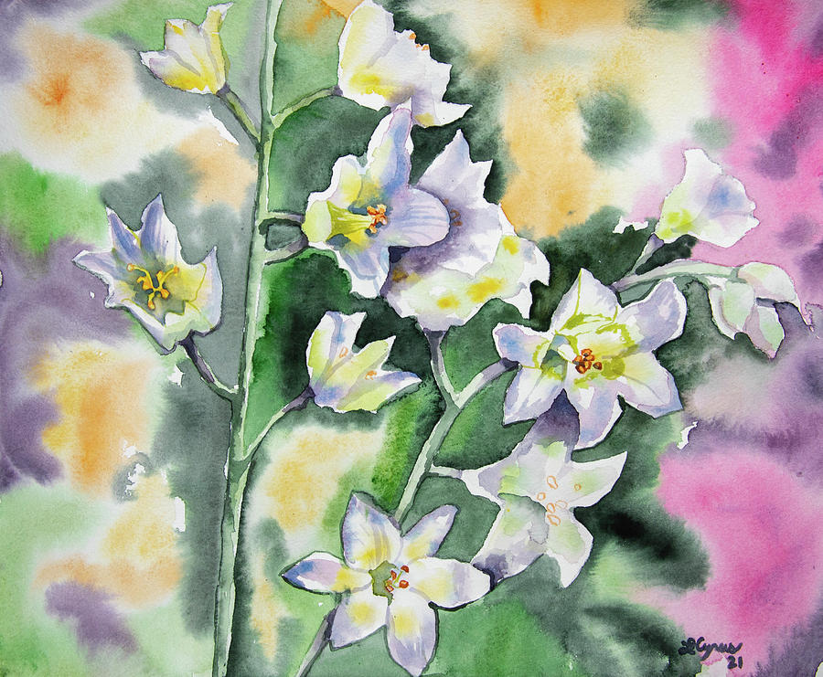 Watercolor - Death Camus Wildflowers With Colorful Background Painting