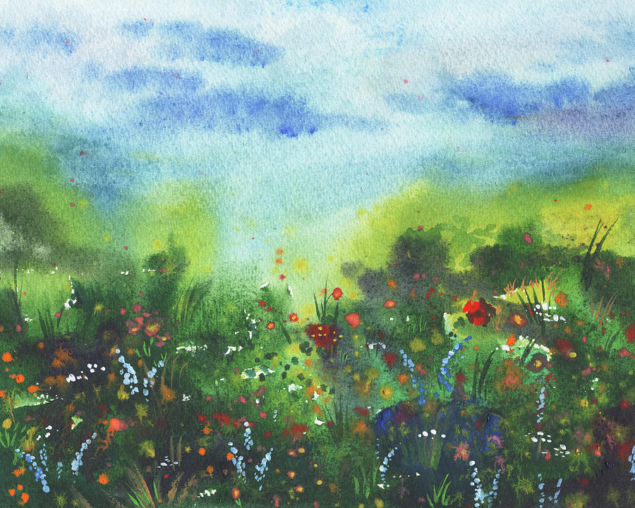 Watercolor Field With Wildflowers Secret Path Painting