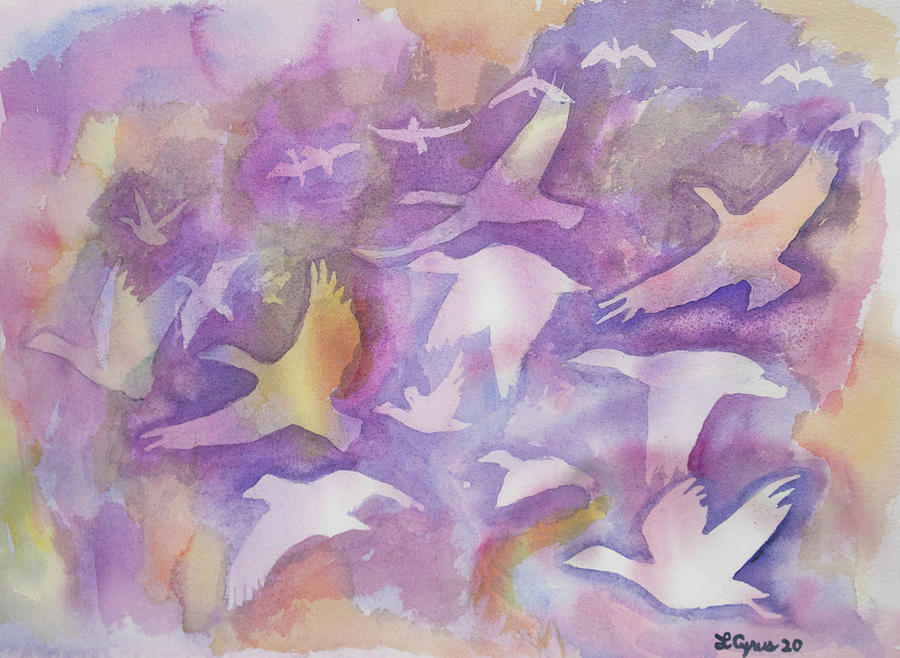 Watercolor - Flying Snow Goose Design by Cascade Colors