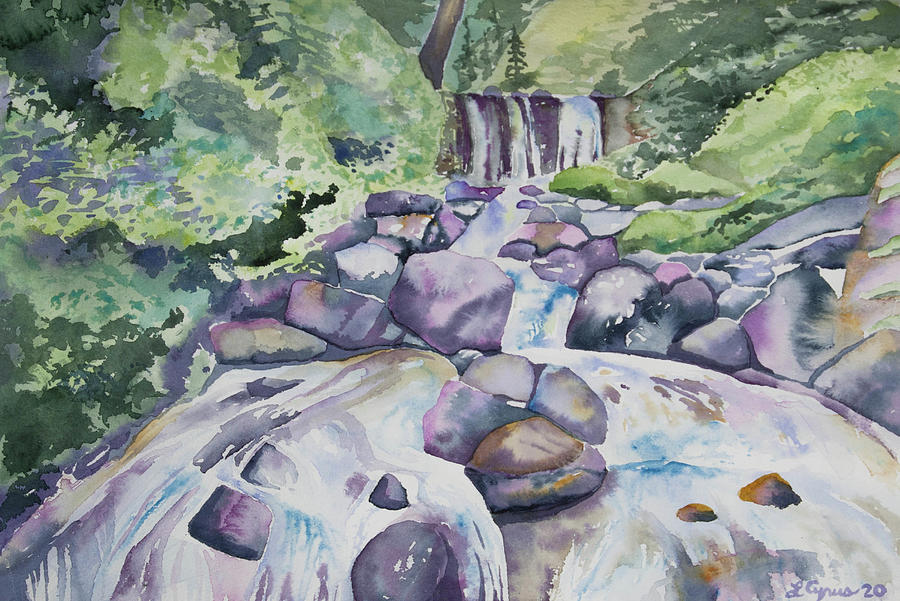 Watercolor - Forest Waterfall and Stream by Cascade Colors