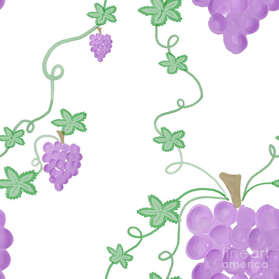 Watercolor Grapevine Repeating Pattern Digital Art