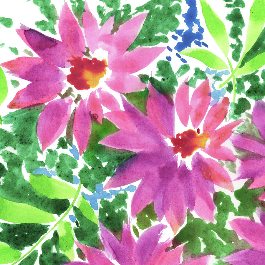 Watercolor Impressionistic Flowers Close Up Painting