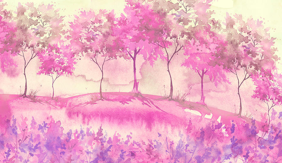 watercolor postcard with wild flowers, pink plants. Watercolor background. Blossoming meadow, field, countryside landscape. pink Tree. Summer, Spring landscape. Silhouettes of forest. Blooming garden Drawing