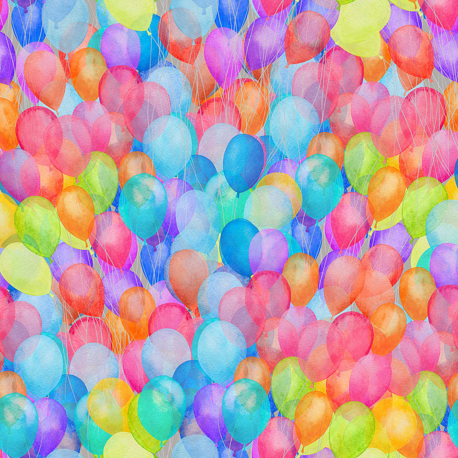 Watercolor Rainbow Seamless Air Balloon Pattern Drawing