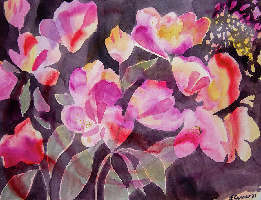 Watercolor - Rhododendron Design Painting