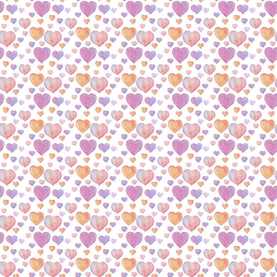 Decorative Digital Art - Watercolor seamless pattern for Valentines day with hearts on white background by Elena Sysoeva