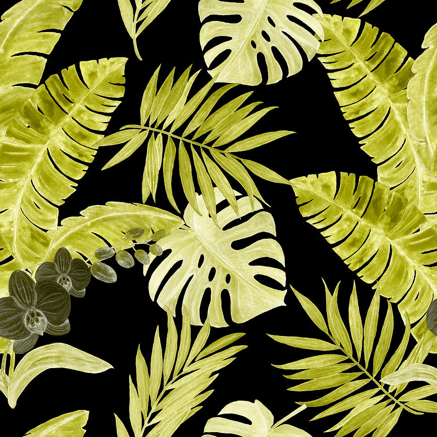 Watercolor Seamless Pattern With Tropical Leaves And Orchid Flowers. Hand Painted Drawing