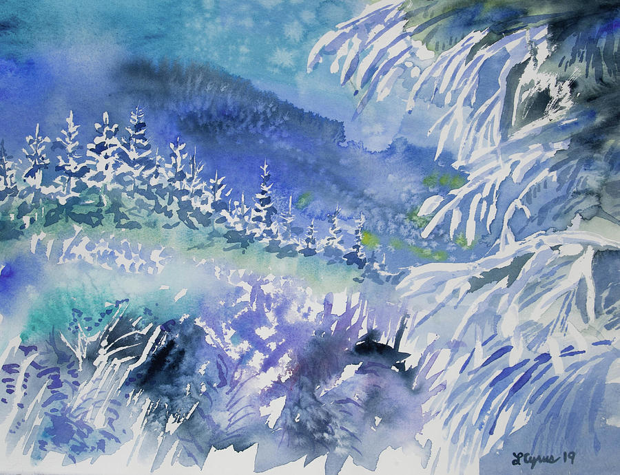 Watercolor - Snowy Winter Evening at Forest's Edge by Cascade Colors