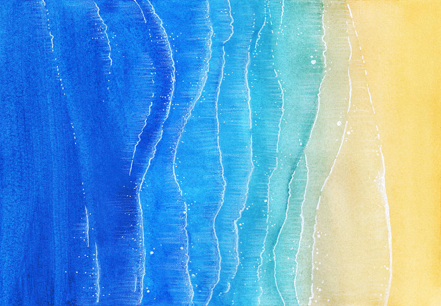 Watercolor Texture With Blue Sea And Sand Beach. View From Above Illustration Photograph