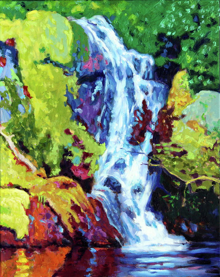 Waterfall Painting - Waterfall by John Lautermilch