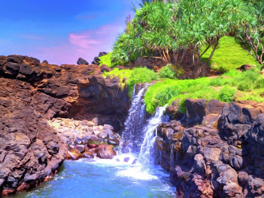Waterfalls at Queen's Bath Kauai by Dominic Piperata