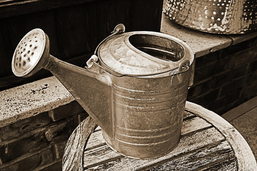 Watering Can Bw Sepia Photograph