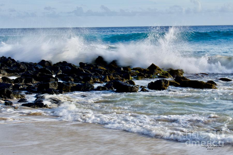 Wave Action Brenneckes Beach 1 by Gary F Richards