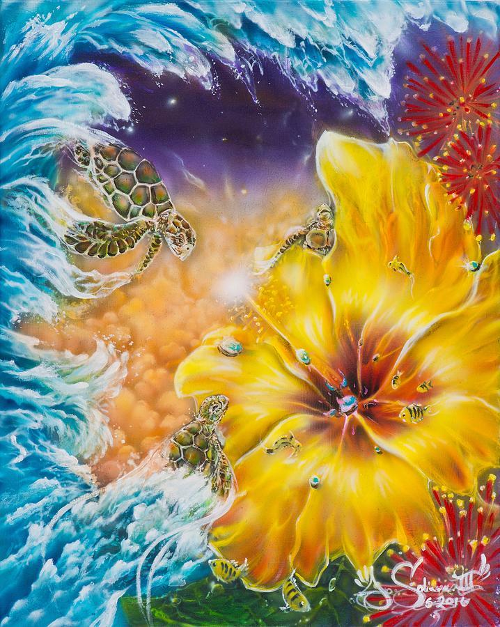 Waves Painting - Wave of the Honu by Joel Salinas III